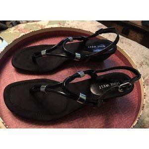 Nine West Black Heeled Open Toe Sandals 8